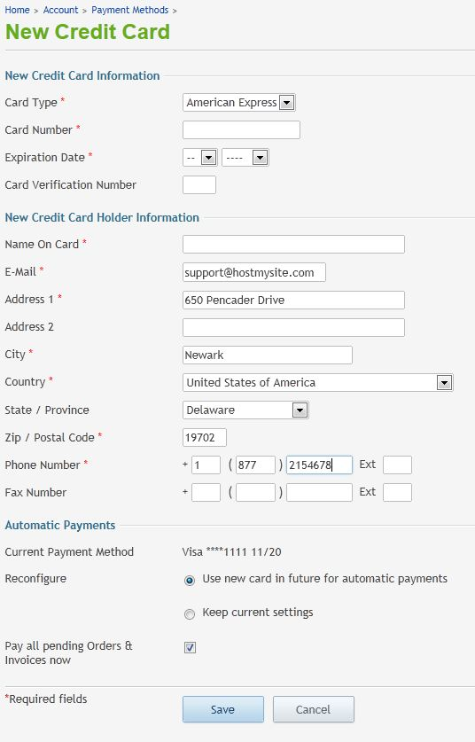 Add New Credit Card screen in HostMySite Control Panel