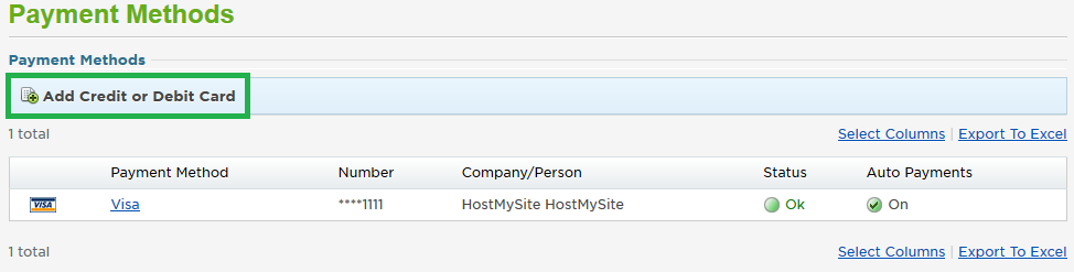 Payment Methods Screen in HostMySite Control Panel