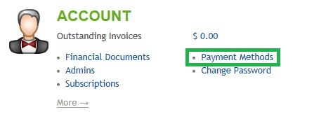 Accounts Section of Home Tab in HostMySite Control Panel